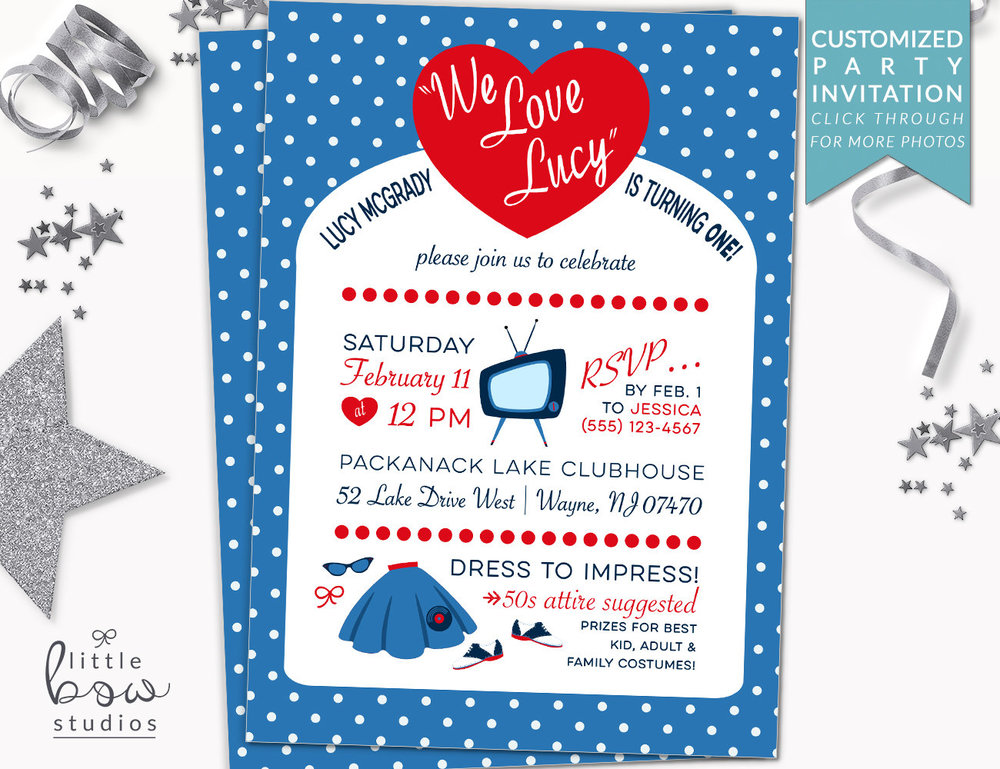 I Love Lucy Printable Invitation 50s First Birthday Party Retro 1st Diner Theme Vintage Baby Shower Invite Little Bow