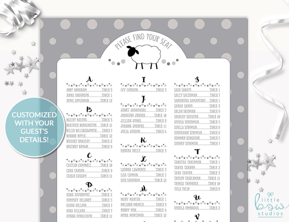 Little Lamb Baby Shower Seating Chart Gender Neutral Printable 24 X 36 DIY
