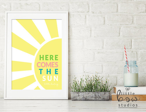 Printable Wall Art: 5 x 7 Here Comes the Sun, Nursery Decor ...