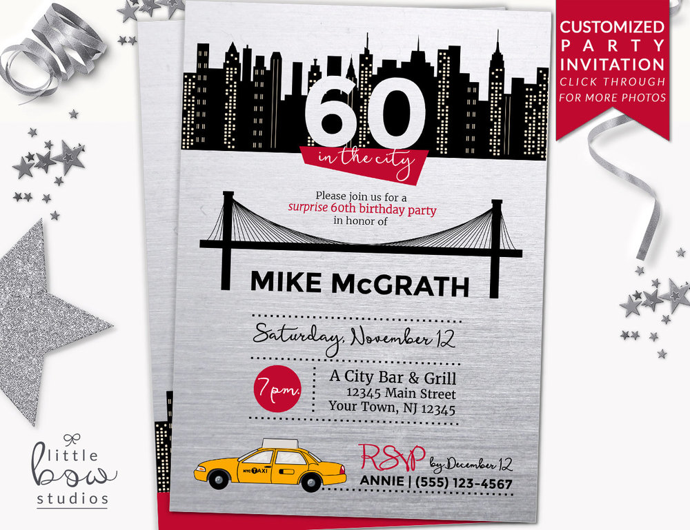 NYC Birthday Printable Invitation Party New York City Skyline Invite 40th Any Age Surprise Little Bow