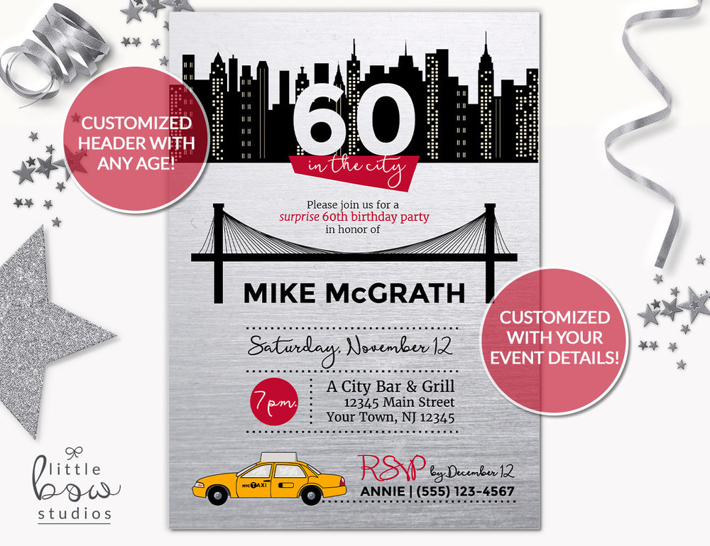 NYC Birthday Printable Invitation Party New York City Skyline Invite 40th Any Age Surprise