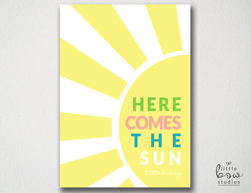 Printable Wall Art: Here Comes the Sun, Baby Shower Gift, Yellow ...