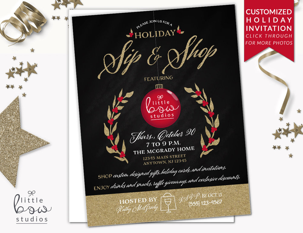 Holiday Sip And Shop Printable Invitation Printable