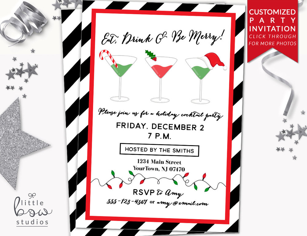 Holiday Cocktail Party Printable Invitation Christmas Party