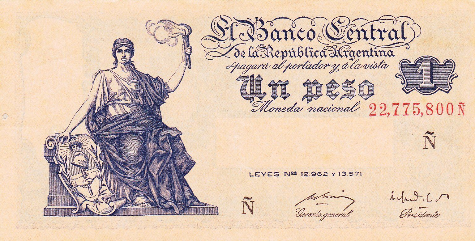 A 1 Argentine Peso Banknote (1951) Source: http://www.worldbanknotescoins.com/2015/05/argentina-1-peso-banknote-1951.html