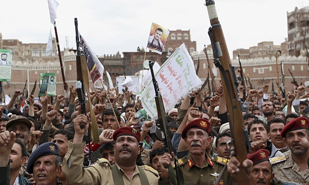 Houthi rebels show their defiance of Saudi-led airstrikes at a rally in Sanaa, Yemen. Source: Hani Mohammed/AP http://www.theguardian.com/commentisfree/2015/mar/29/iran-saudi-arabia-yemen-conflict