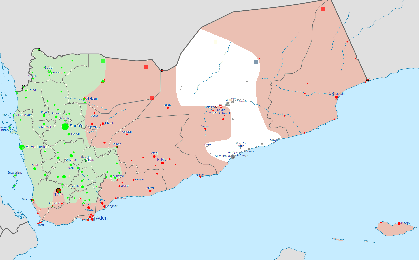 Detailed map of Yemen's Civil War  Green:  Controlled by Revolutionary Committee Red: Controlled by Hadi-led government and the Southern Movement White: Controlled by Ansar al-Sharia/AQAP forces Source: https://en.wikipedia.org/wiki/Yemeni_Civil_War_(2015)