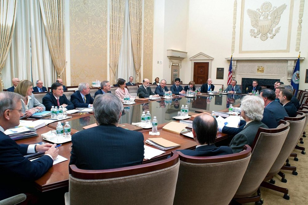 A Federal Open Market Committee (FOMC) meeting. Source:  http://angrybearblog.com