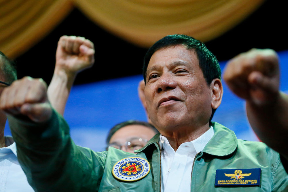 President Rodrigo Duterte in September at the Philippine Air Force headquarters in Pasay, a city southeast of Manila. Source:  Bullit Marquez/Associated Press
