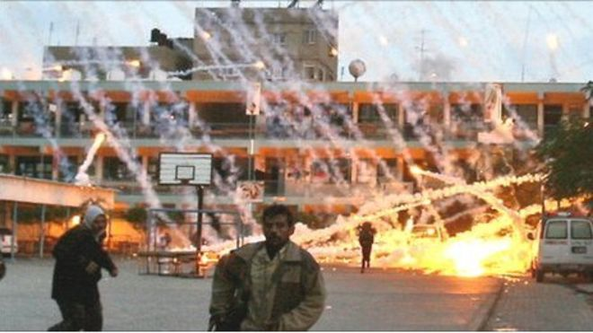 A white phosphorus attack in Palestine. Image Source:  BBC