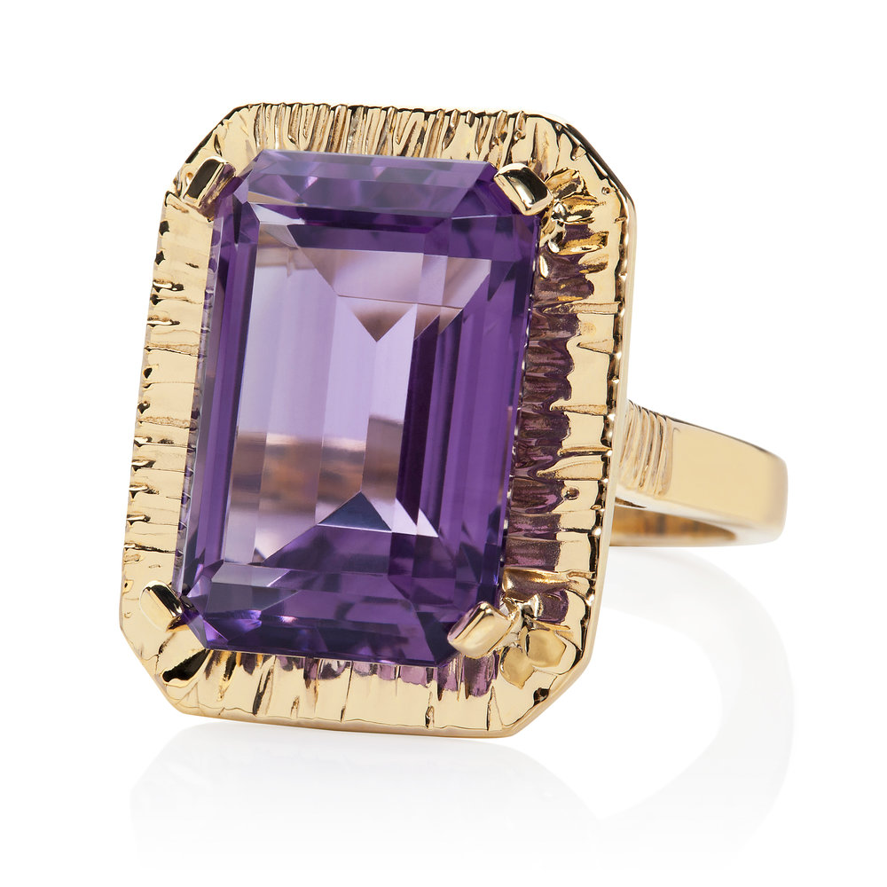 Royal amethyst in textured Gold cocktail ring.jpg
