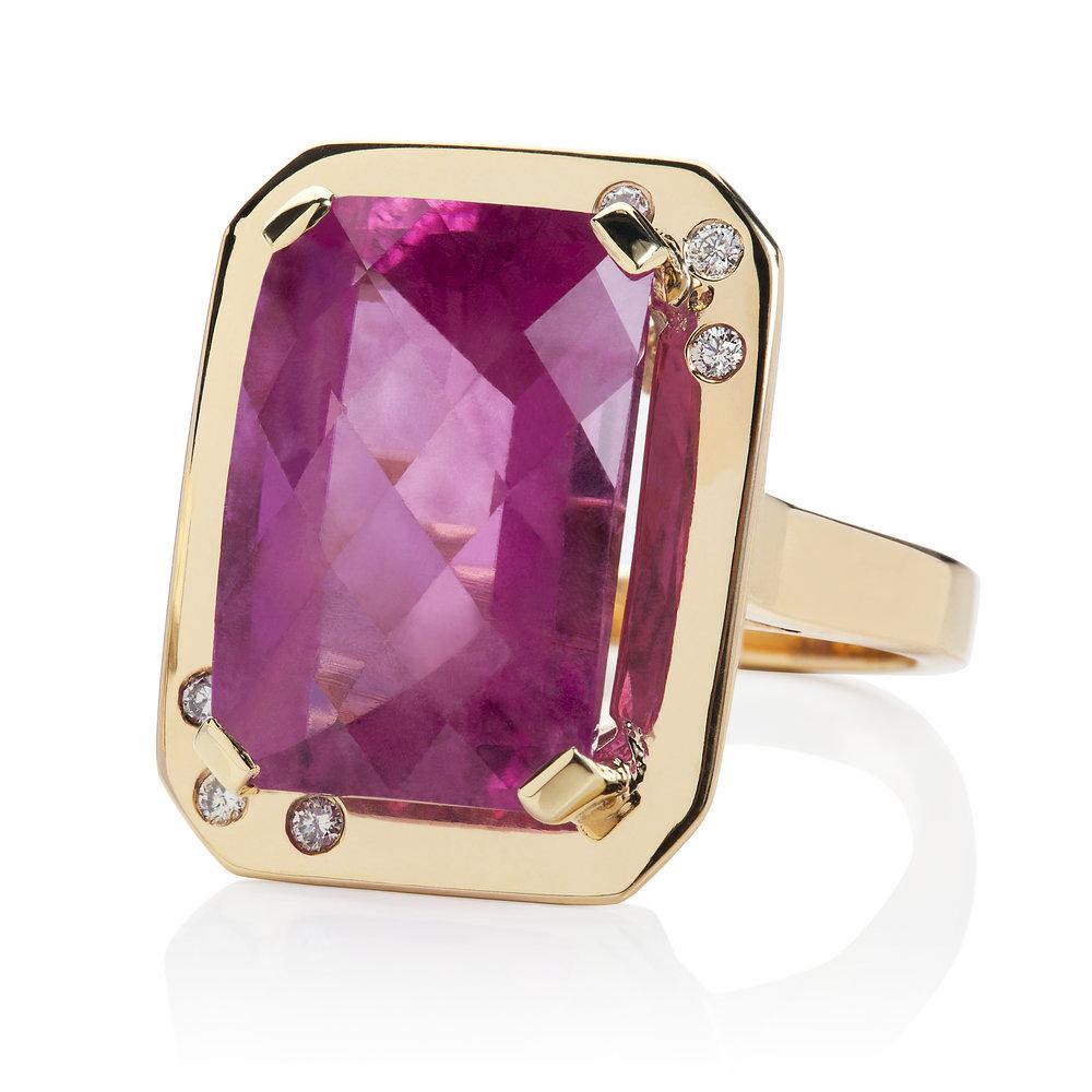 Rubelite Tourmaline and diamond in Gold cockatil ring.jpg