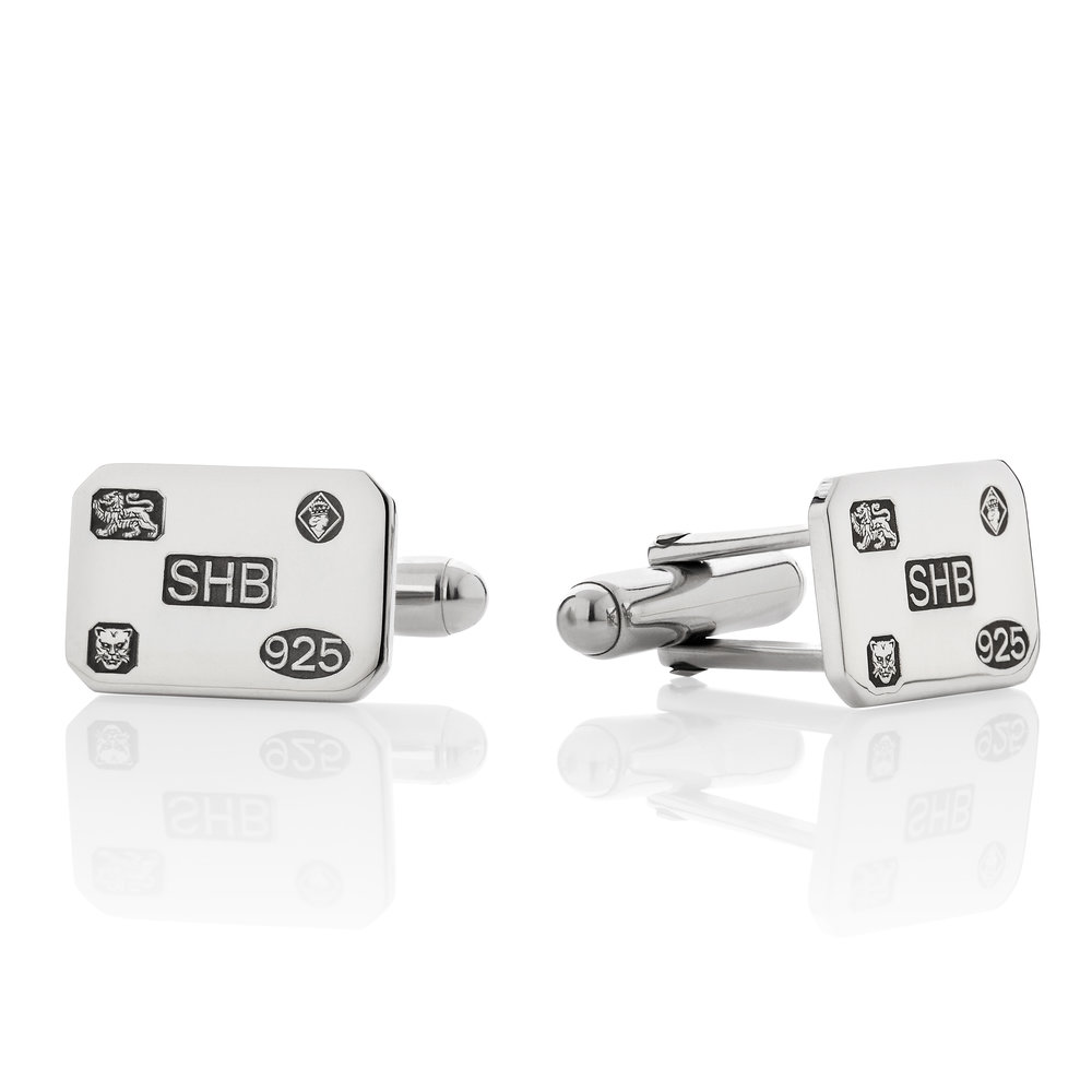 Silver Rectangle Hallmark Cufflinks.jpg