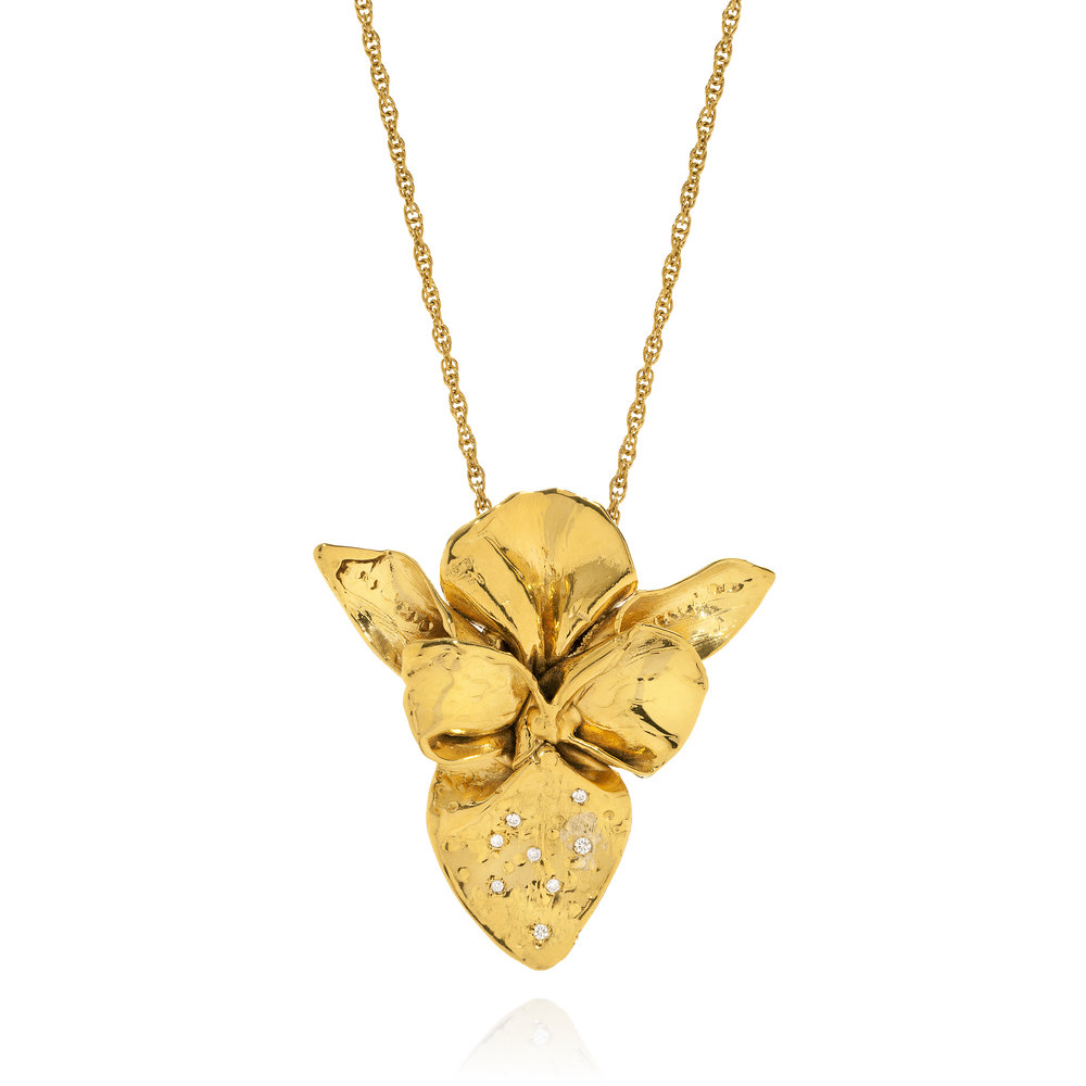 large Gold and a sprinkle Diamonds Orchid-Pendant.jpg