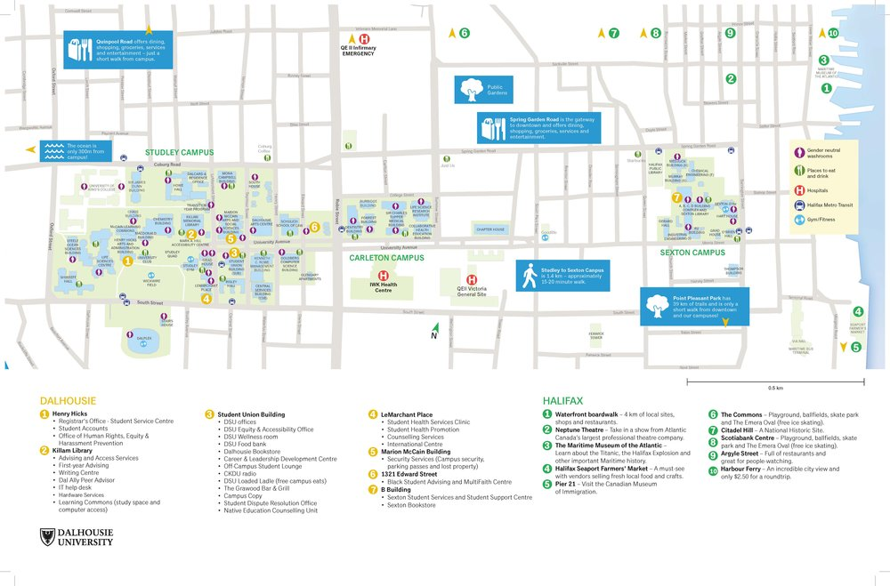 Click map to englarge and download the Dalhousie University map.