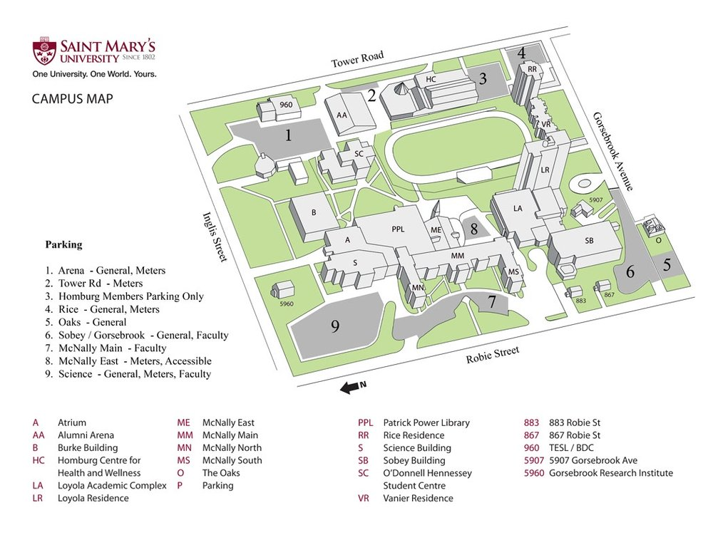 Click map to englarge and download the Saint Mary's University map.