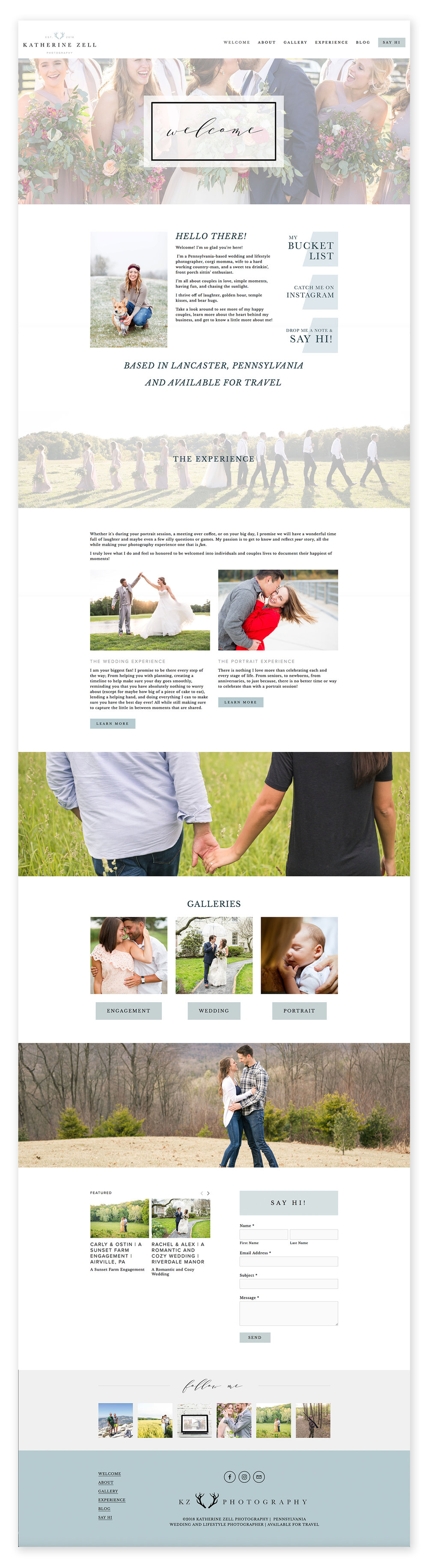 CE Studios: Wedding photographer website design Squarespace - Home page