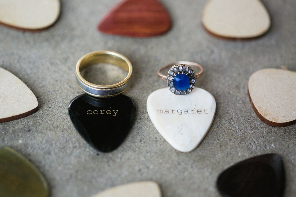 Rock N' Roll Wedding Band, Vintage Saphire Ring