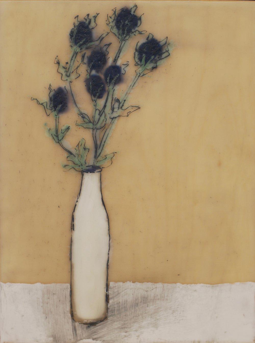 Thistle, White Vase