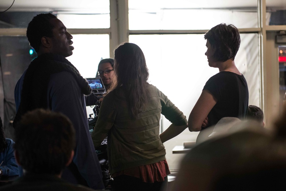Hans, Lisa and Giovanna consider next steps on set of JAVA the short. Image Dixie D. Vereen.