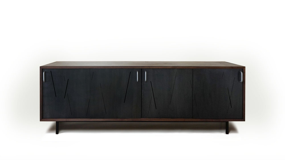BLACKENED STEEL LASER CUT CREDENZA DOORS WITH ADA PULLS