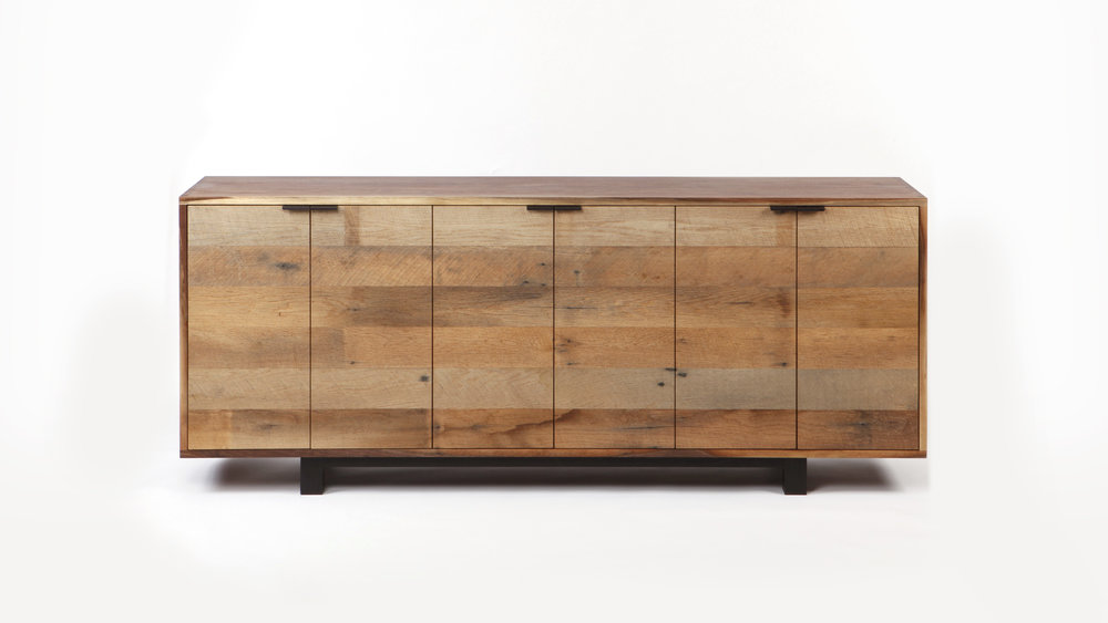 WALNUT CREDENZA WITH ROUGHSAWN OAK FRONT.  HAND-CUT DOVETAILS AND SHOP LAID OAK VENEER FRONT.