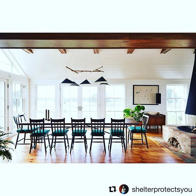 #Repost of a giant table and bench a few months back from our friends  @shelterprotectsyou ・・・ The Cove House dining room has a view out to the pond and pool, plus the beautiful landscape design by @mvva.inc. Custom table by @analogmodern, gorgeous chairs by @sawkillecompany with custom @kellywearstler cushions. Other designers tagged. . . . #walnut #diningtable #analogmodern #marthasvineyard #tablefortwelve #kinfolk