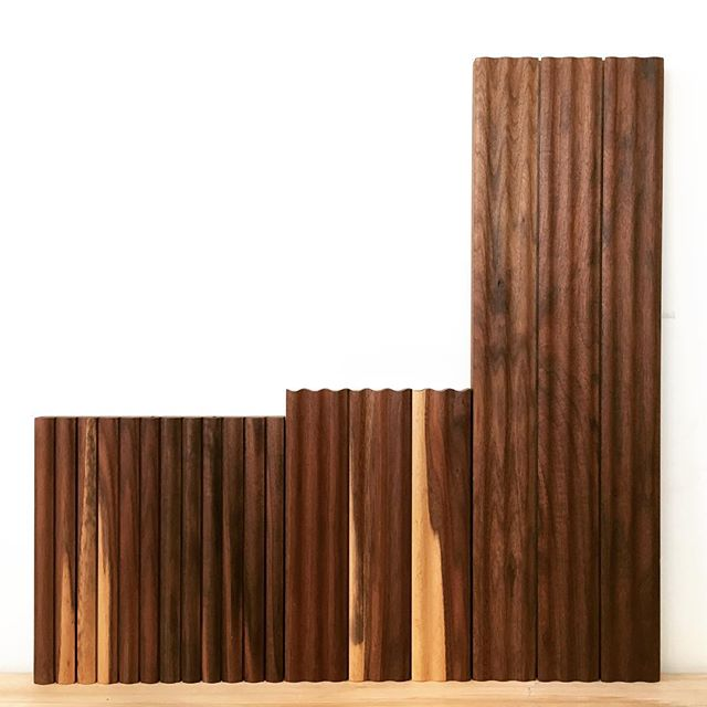 This bar chart both graphs the progression of my grey hair across time and serves as a few samples of fluted wall treatments. . . . . #walnut #shaper #fluted #bargraph #woodworking #analogmodern