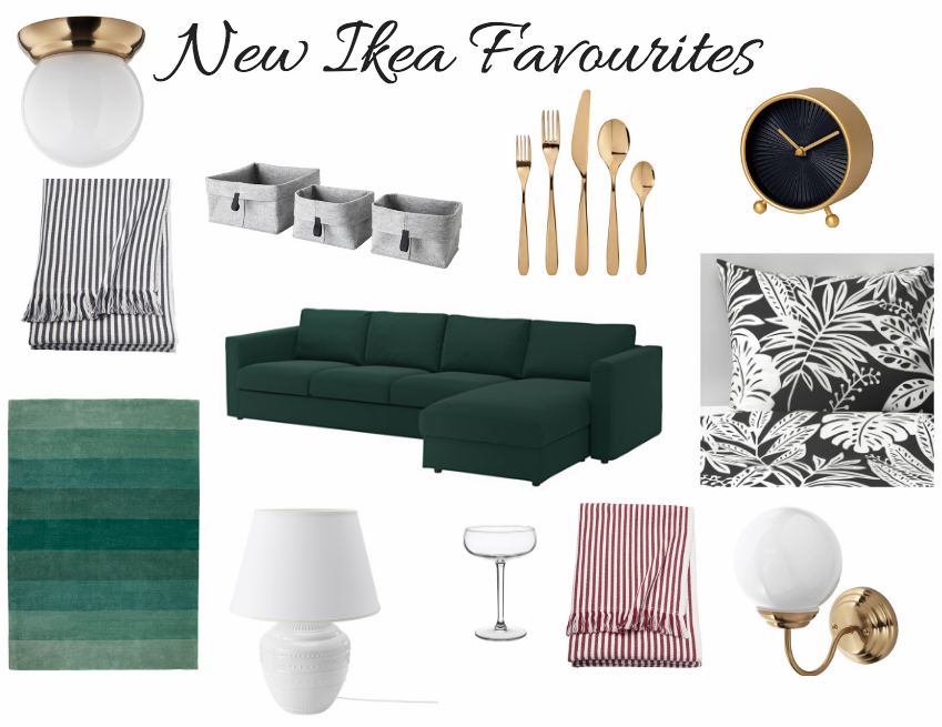 Flush Mount // Striped Throw // Baskets // Gold Flatware // Alarm Clock // Green Sectional // Bedding // Rug // Table Lamp // Champagne Coupe // Striped Throw // Gold Wall Sconce