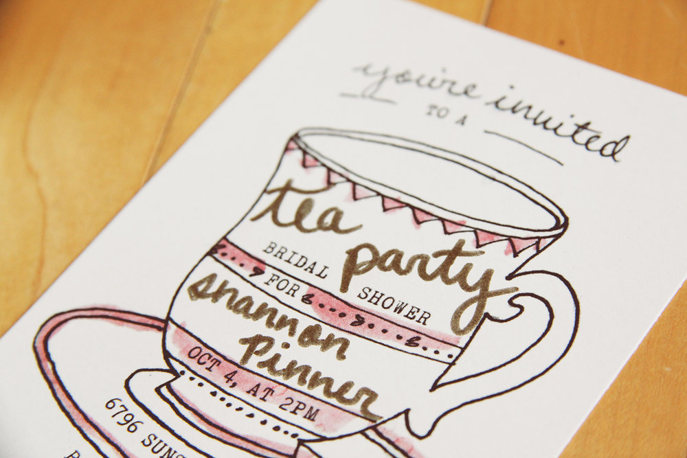 "I added in the ""Tea Party"" and ""Shannon Pinner"" details onto each invitation with metallic marker after printing."