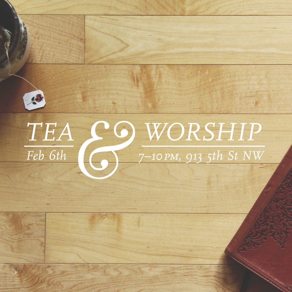 Typography: For this design, I went for a much cleaner, typographical approach. I shot a series of tea & Bible themed photos specifically to use on this design, and then created a simple, elegant layout to go on top of the photo.