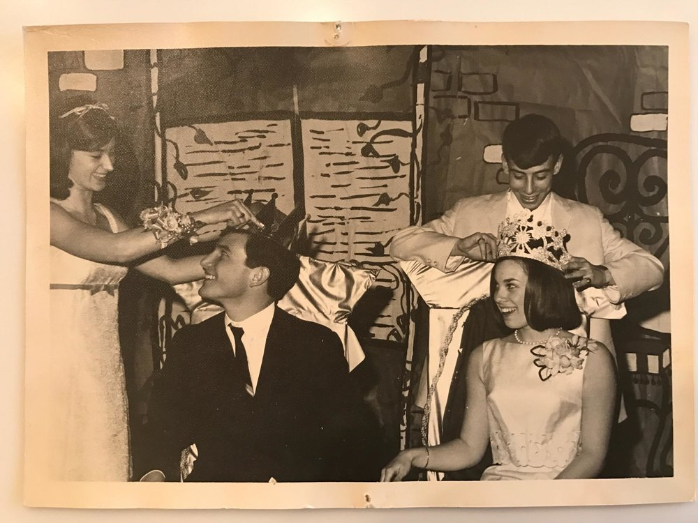 John Wagner and Ellen Jolles being crowned king and queen at our Junior Prom. Deedee Schure and Alan Biren are doing the crowning.