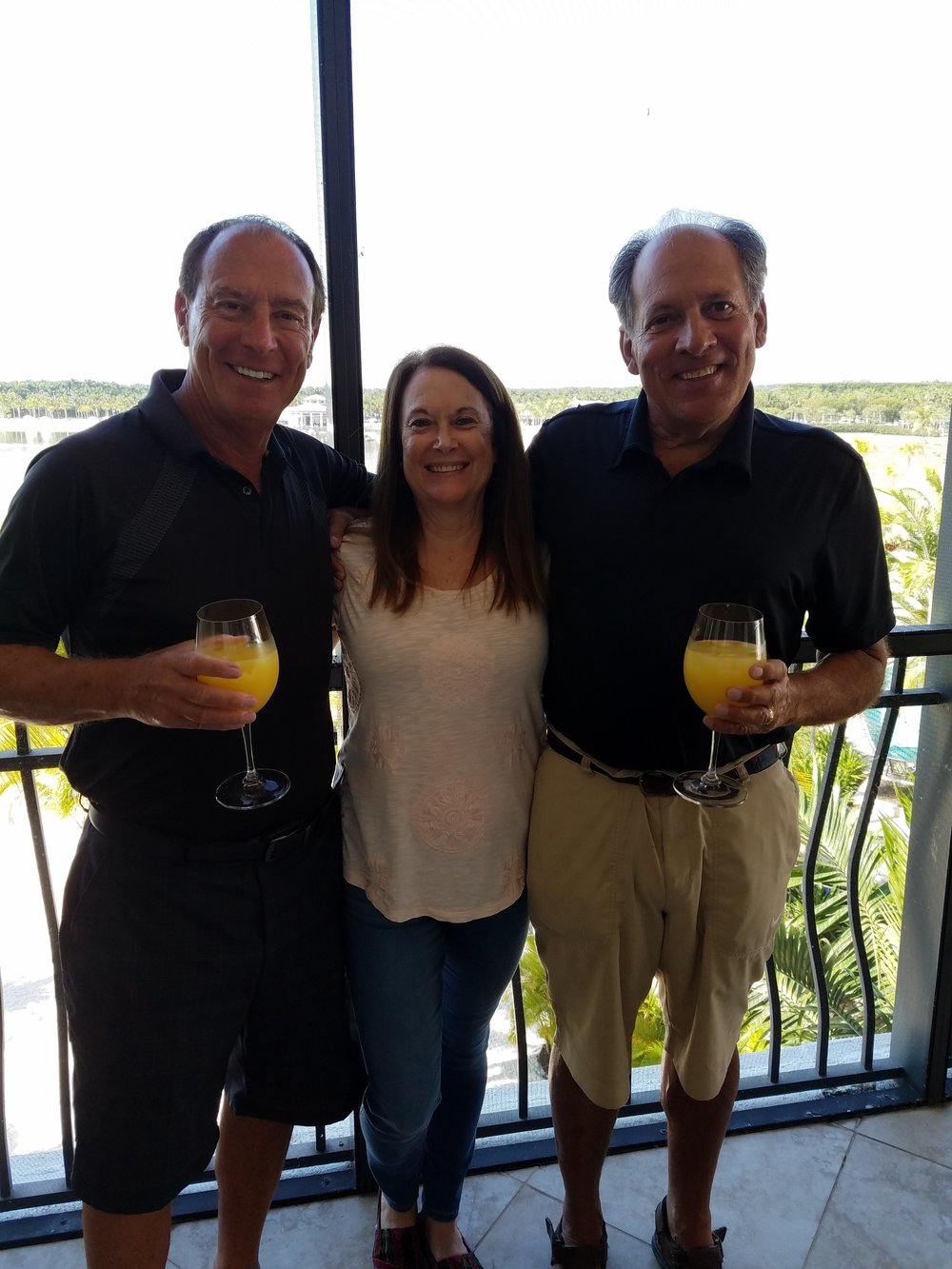Alan Biren, Margie Sternin Bloomberg, and Steve Bilsky on a beautiful day for brunch in Florida,  February 2017