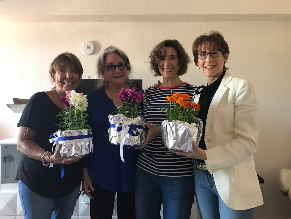 Making the centerpieces: Judy Roseman Caragher, Nancie Kopple Dunn (thank you, Nancie, for bringing the gorgeous plants from Vermont), Deedee Schure, and Betsy Rosenfield Samet