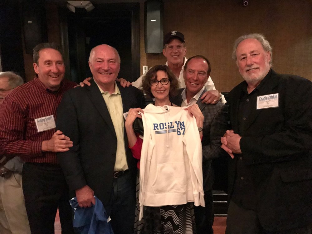 The showing off of the hoodie: Bobby Soloff, John Wagner, Deedee Schure, Larry Gordon, Alan Biren, Charlie Zatzkin