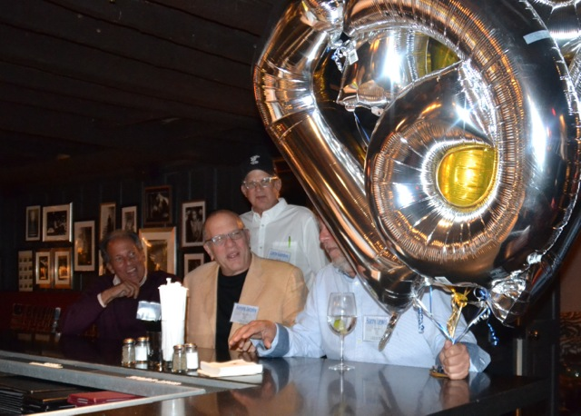 Closing down Hendricks:  Steve Bilsky, Ken Jacoby, Larry Gordon, Barry Lewis (behind the balloons)