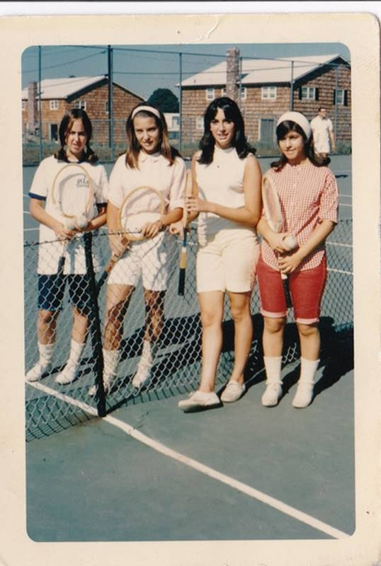 Marcia Gnaizda, Nancie Brecher, Laura Birns, and Lois Leatherman ready for a tough game of doubles