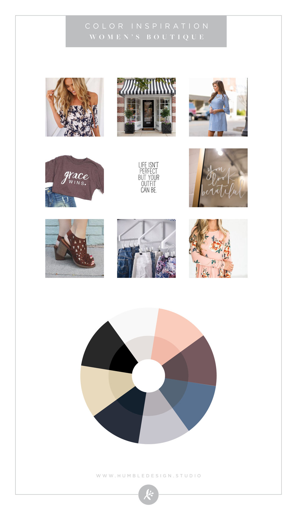 Womens Boutique color palette inspiration