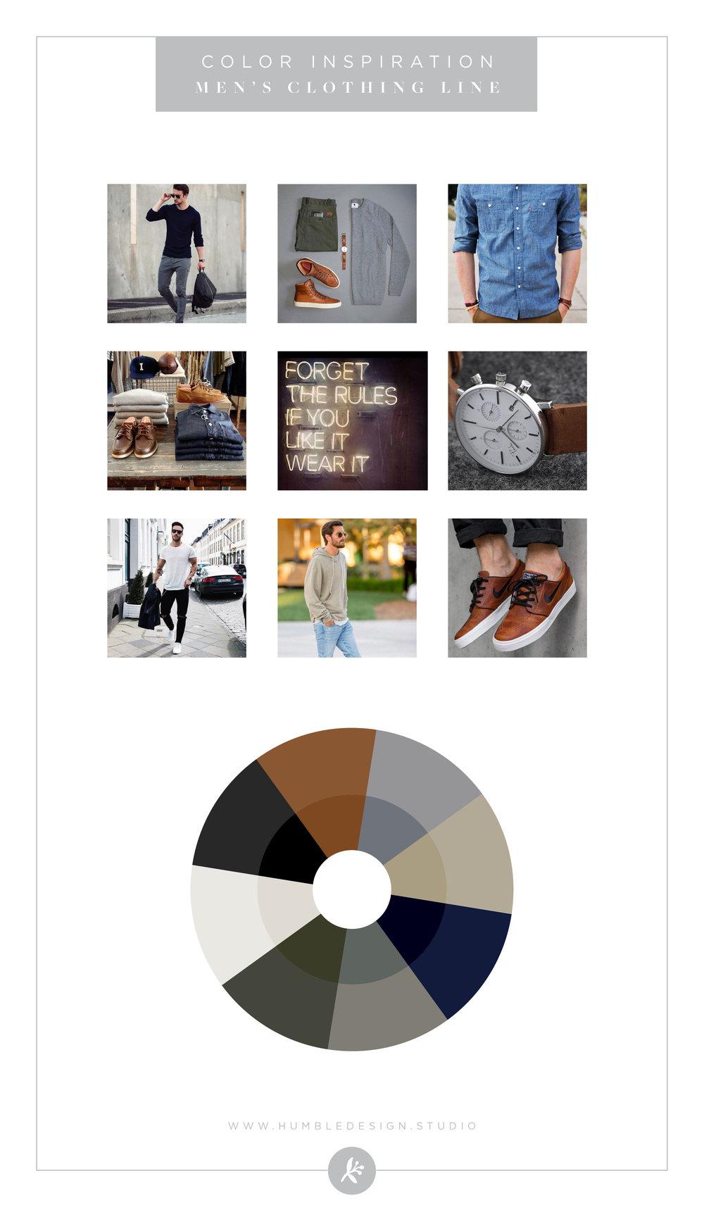 Mens clothing line color palette inspiration
