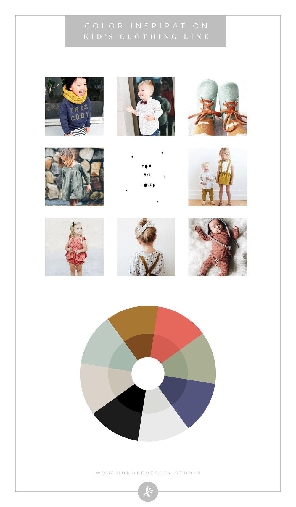 Kids clothing line color palette inspiration