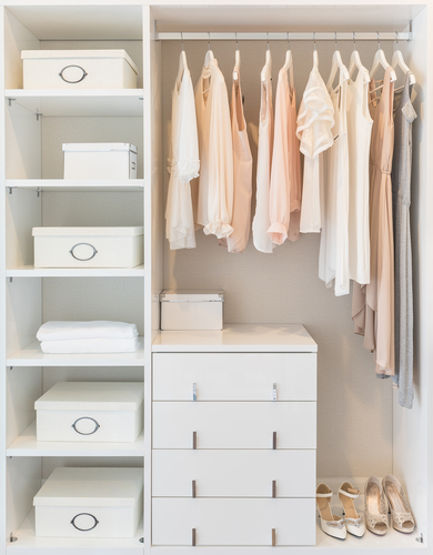 "Give your clothes breathing room = calm closet and life!   Acknowledging clothing that creates positive feelings comes about by handling each piece during the sorting process, finding what ""sparks joy""."