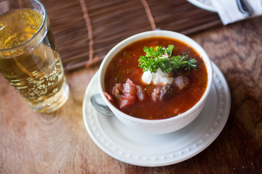 Ukrainian Borscht soup at The Village House Kalina