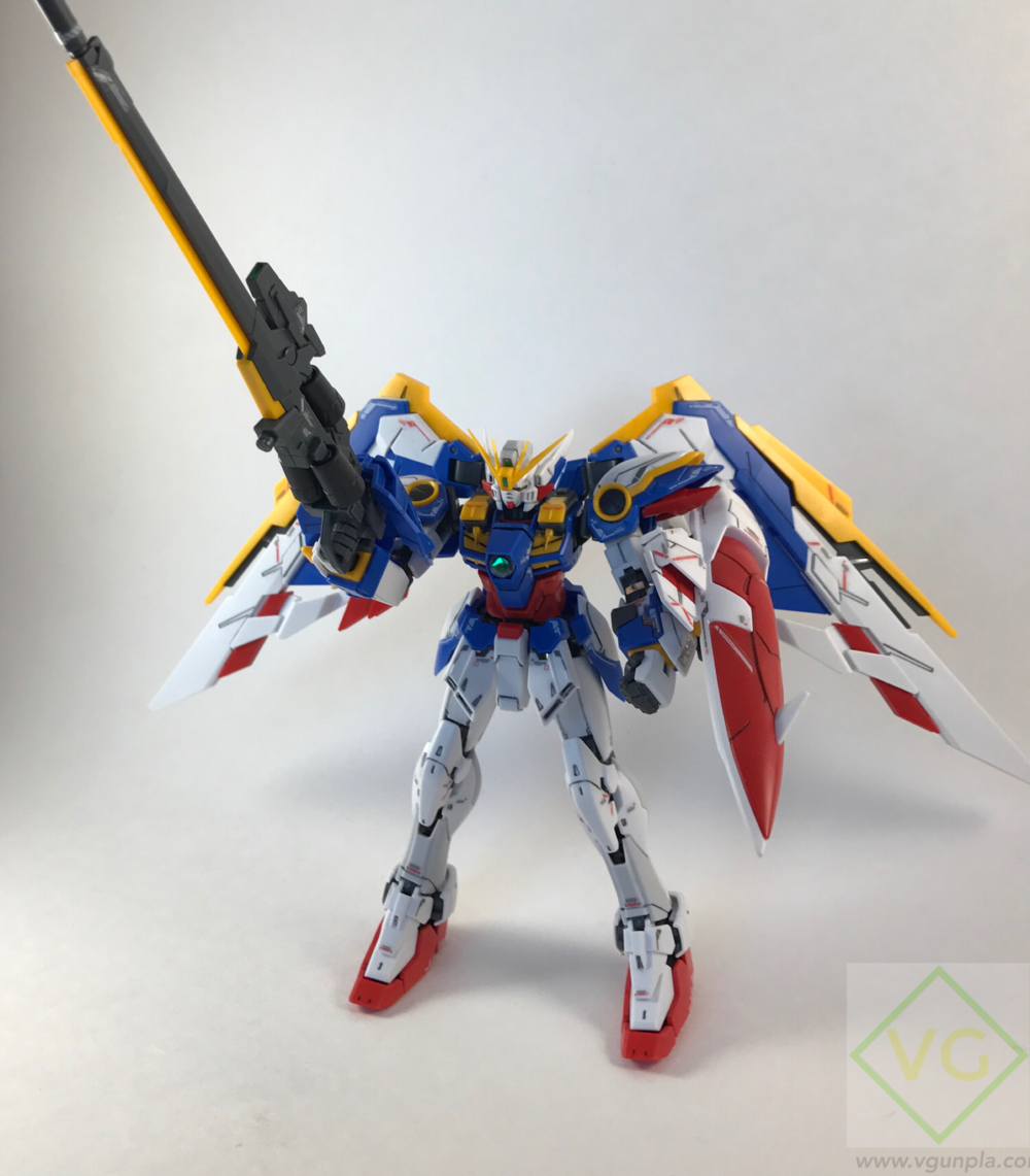 It actually stands on it Feet with no assistance! The rifle and shield counter balance the wings quite nicely.