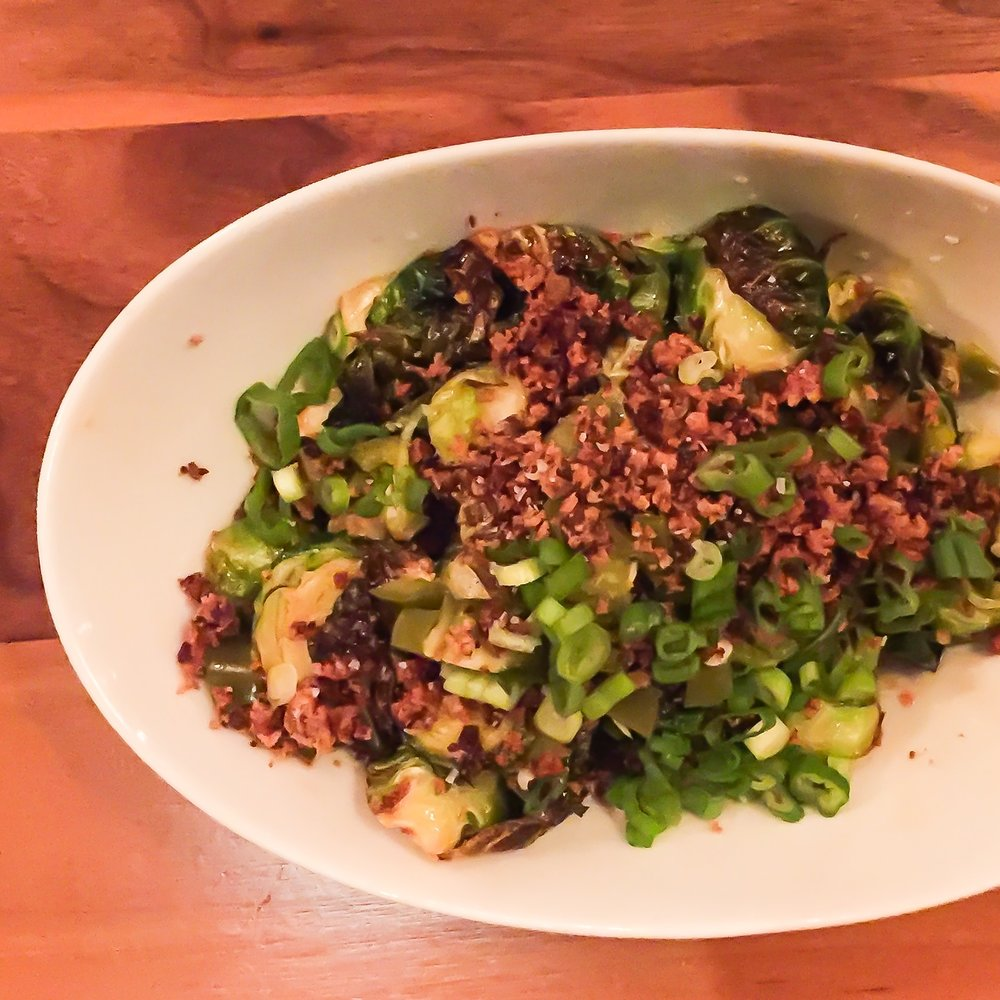 Fried Brussel Sprouts | honey sambal vinaigrette, pickled jalapenos, bacon crumble