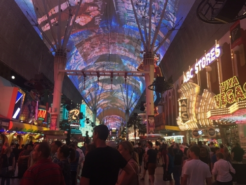 This is on Freemont Street. Above is a giant digital board that does a really impressive show every hour!