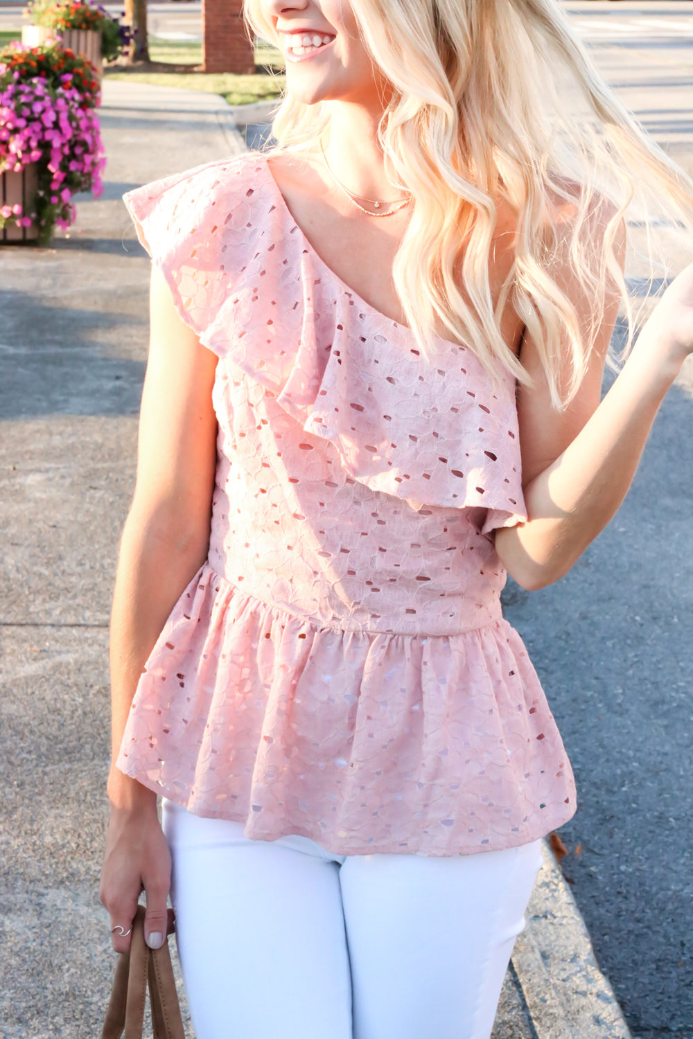 Blush Pink Eylet One Shoulder Top.jpg