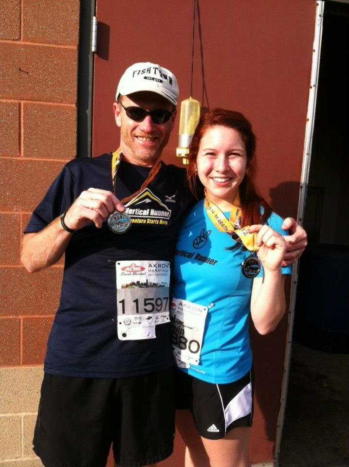 After finishing the 2012 Akron Half Marathon!