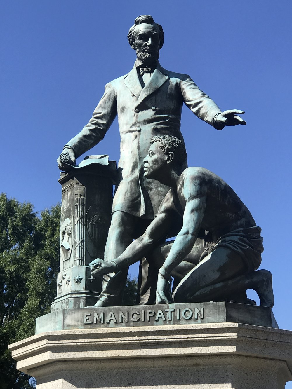 The Emancipation Memorial in Washington, D.C. An exact replica sits in Boston's Lincoln Square.