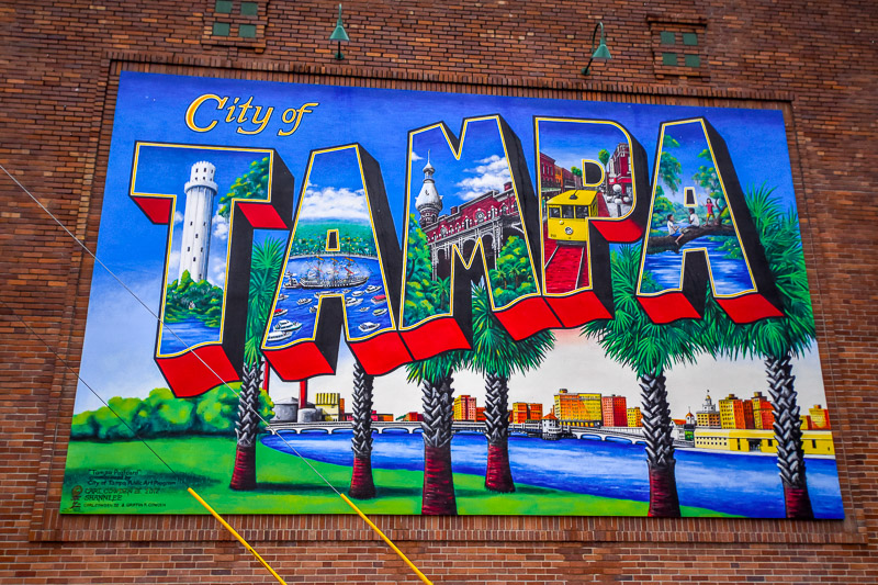 The Tampa mural by artist, Carl Cowden, III is located on the corner of N. Florida Avenue and Royal Street.
