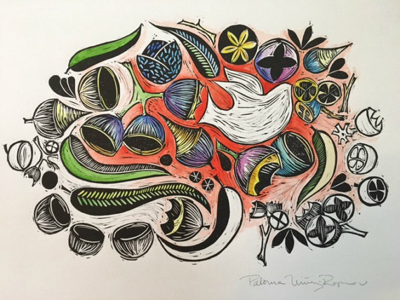 Birds and Seeds. Linocut Print & Watercolor Retail Value: $42 Paloma Nunez-Reguerio Shop more @ Ypsi Alloy Studios